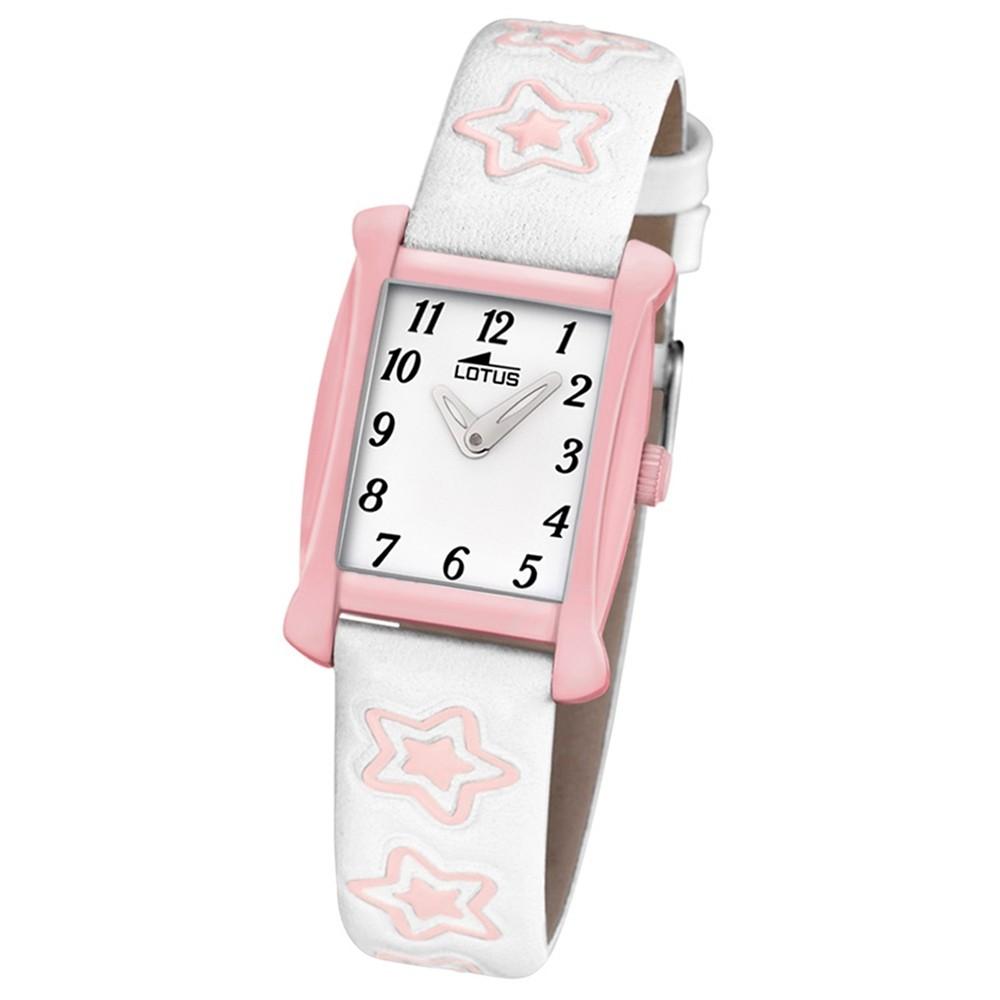 LOTUS Kinder-Armbanduhr Sterne Junior Collection Quarz Leder weiß rosa UL18256/2