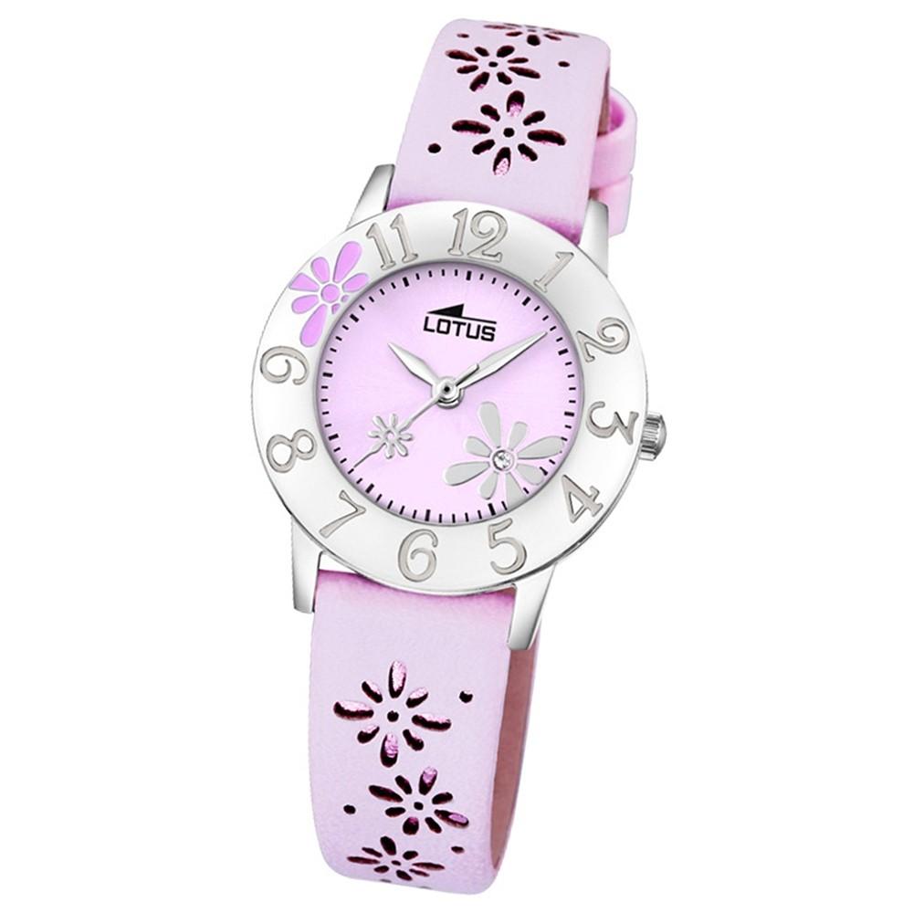 LOTUS Jugend-Armbanduhr Junior Blume Analog Quarz-Uhr Leder pink UL18270/3