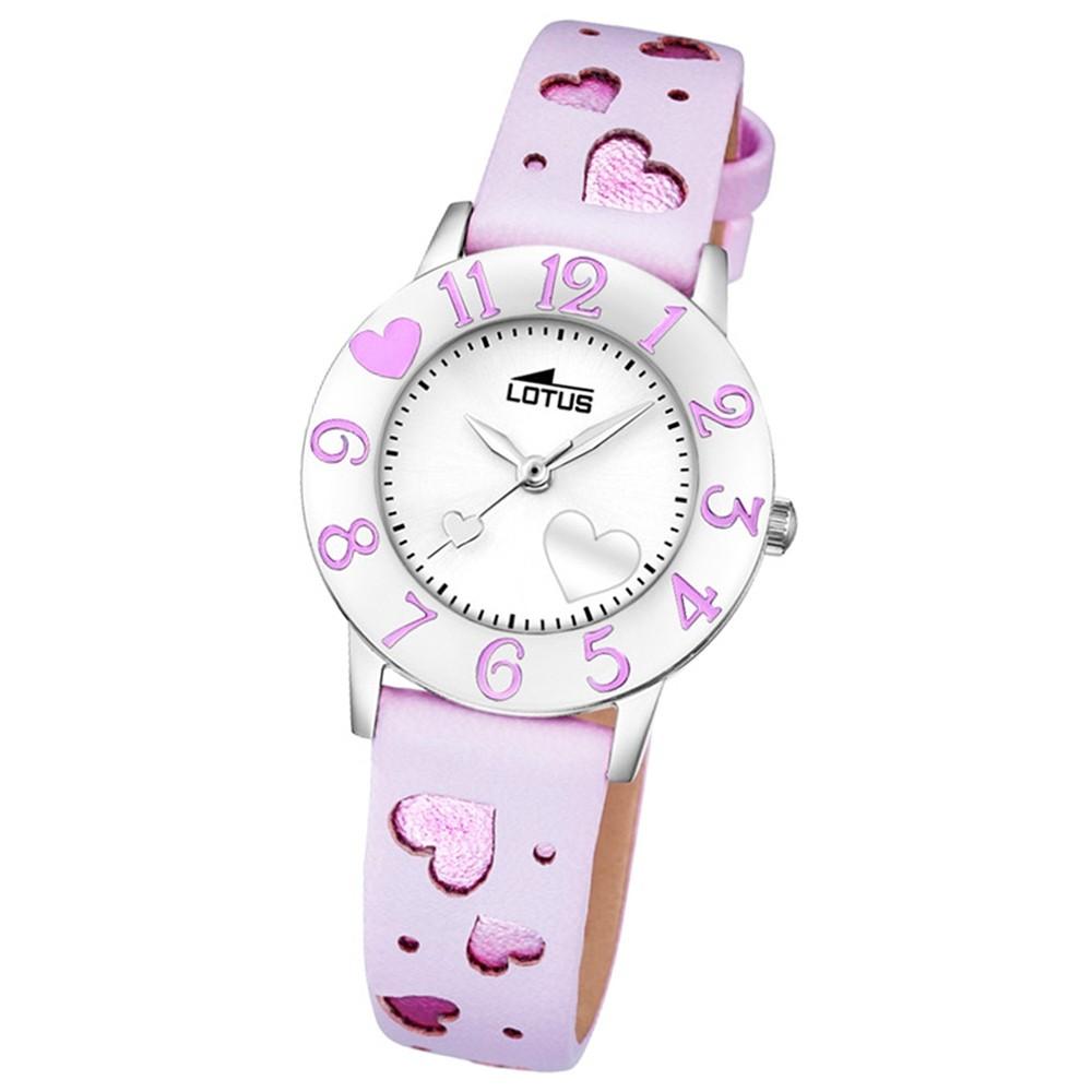 LOTUS Jugend-Armbanduhr Junior Herz Analog Quarz-Uhr Leder pink UL18271/3