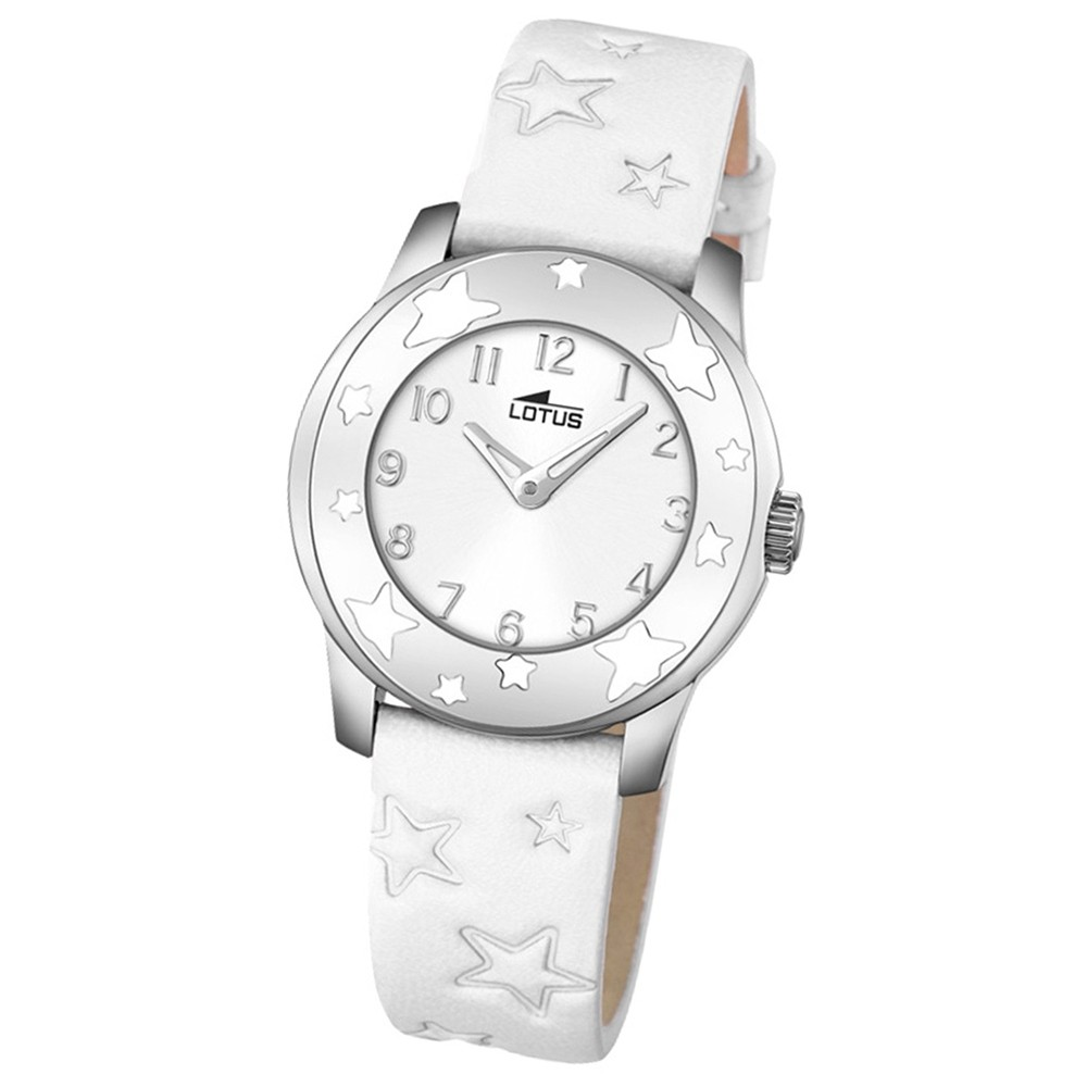 LOTUS Jugend-Armbanduhr Junior Sterne Analog Quarz-Uhr Leder weiß UL18274/1