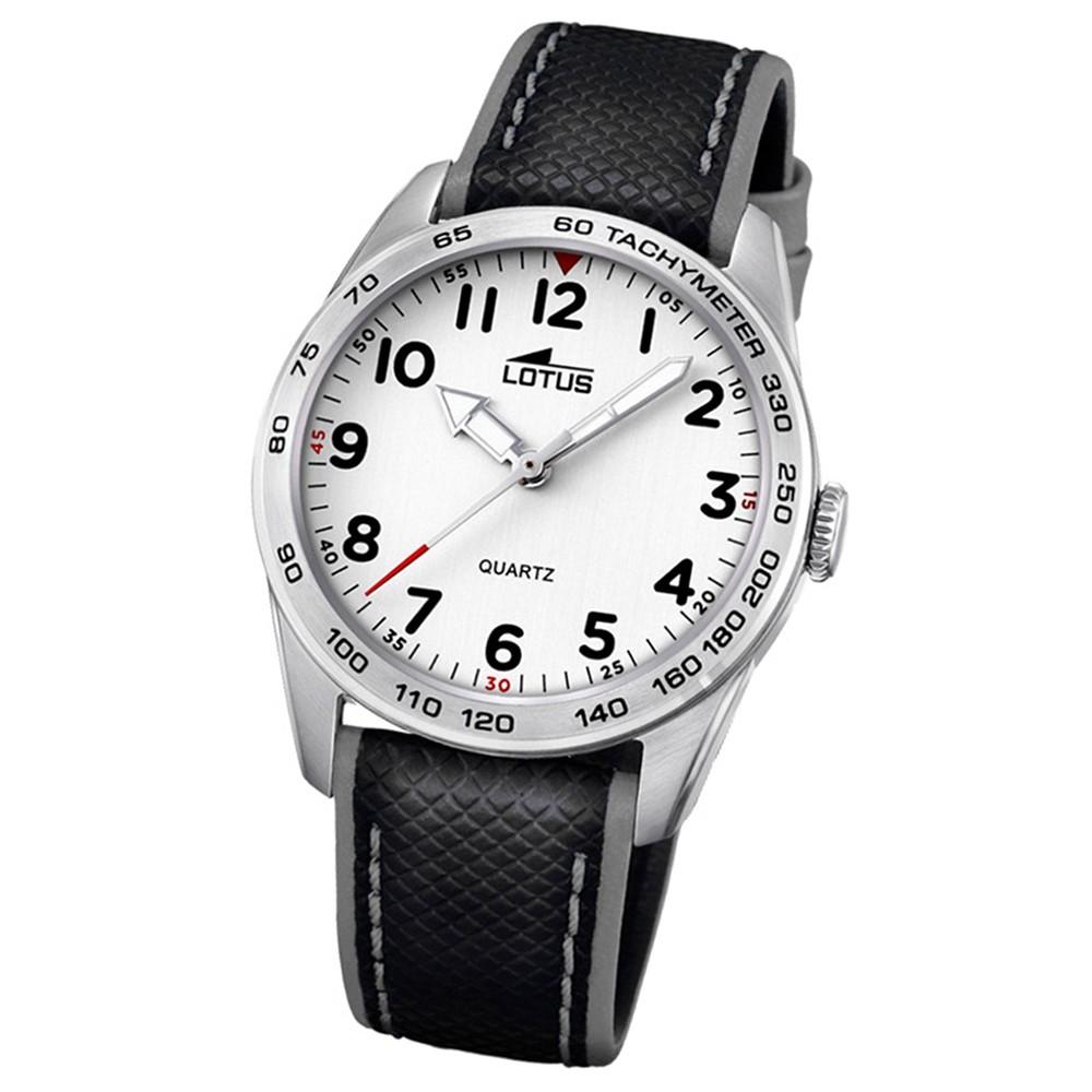 LOTUS Jugend-Armbanduhr Junior Analog Quarz-Uhr Leder schwarz grau UL18276/1