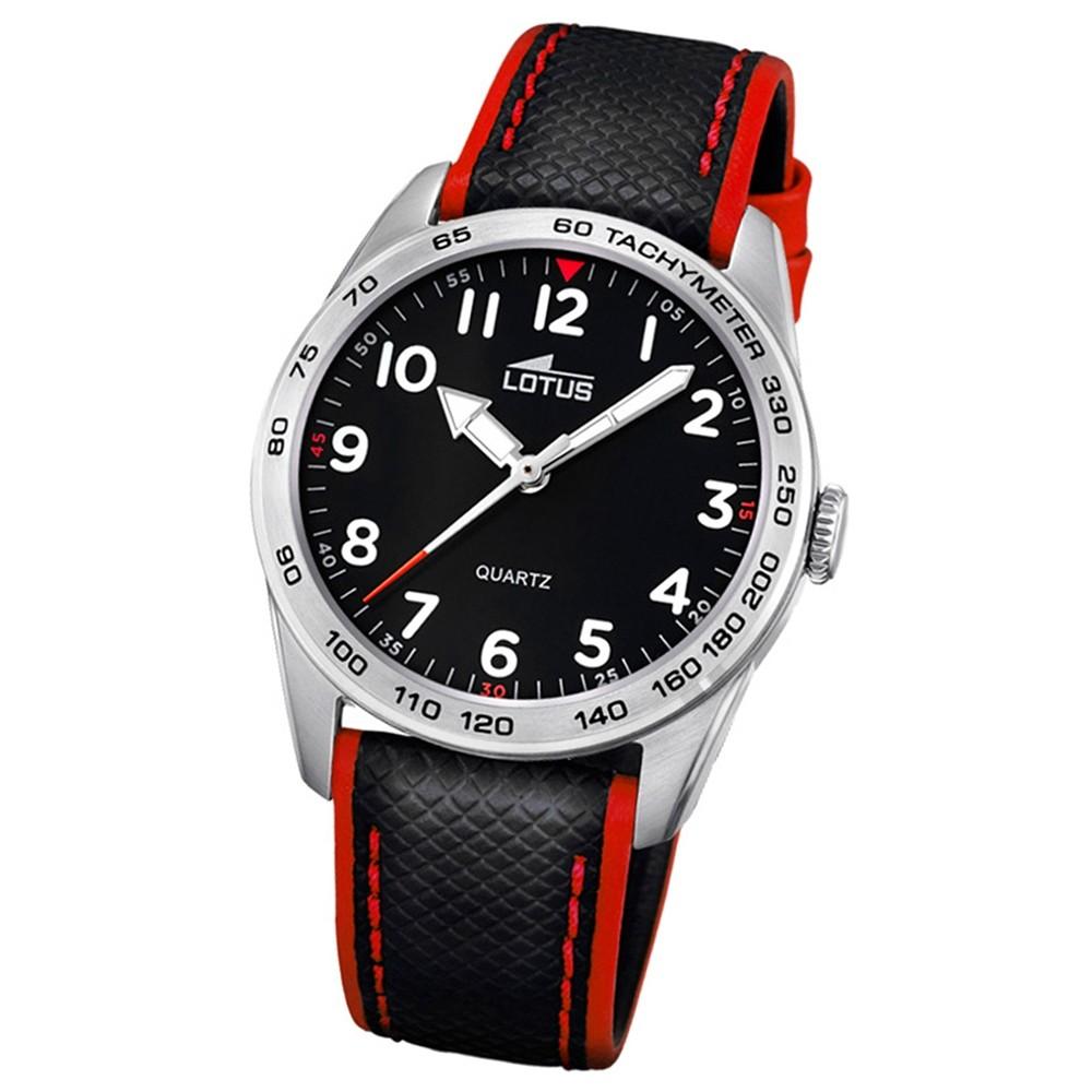 LOTUS Jugend-Armbanduhr Junior Analog Quarz-Uhr Leder schwarz rot UL18276/3
