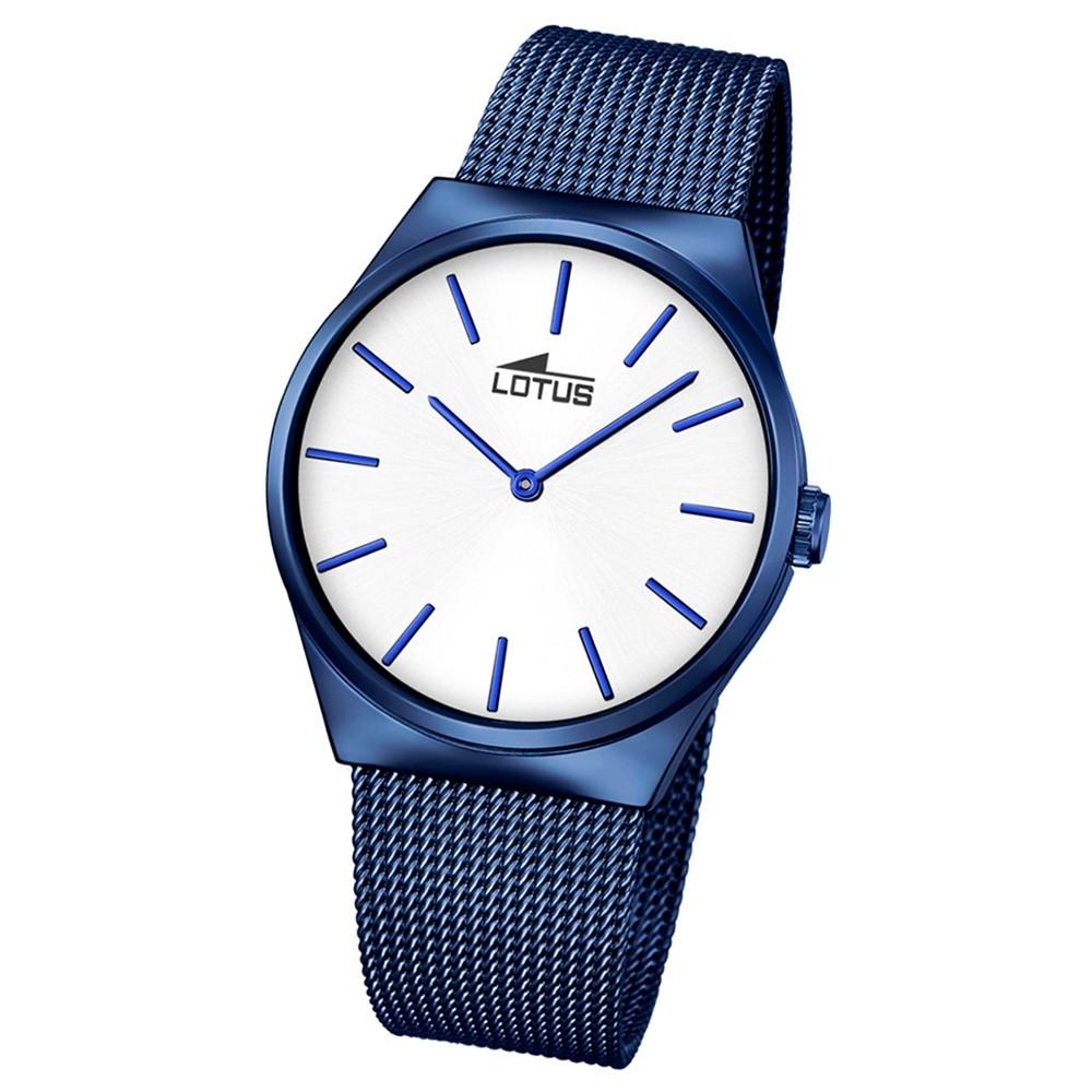 LOTUS Herren Damen-Armbanduhr Stahlband klassisch Quarz Edelstahl blau UL18287/1