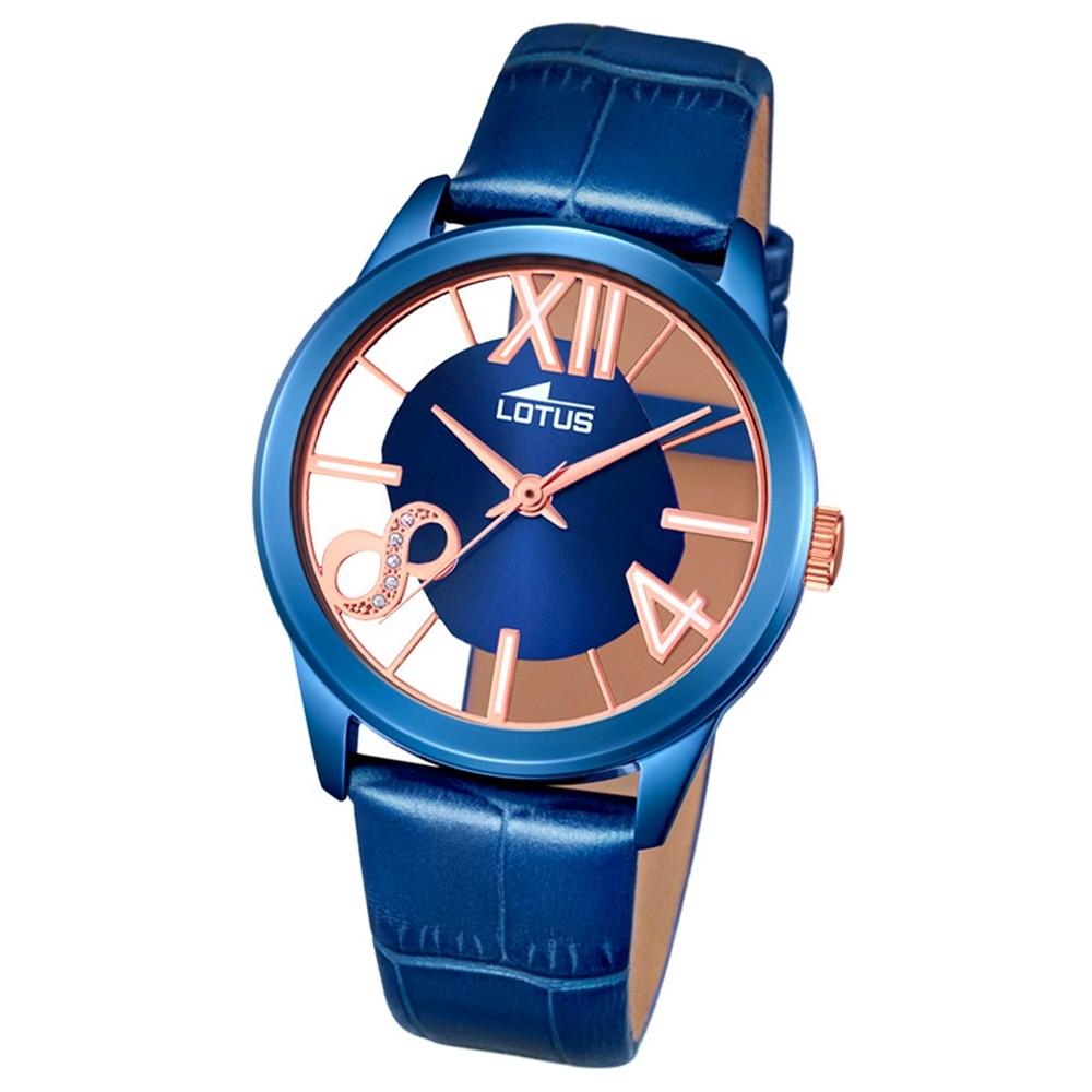 LOTUS Damen-Armbanduhr transparent Trendy Analog Quarz-Uhr Leder blau UL18307/1