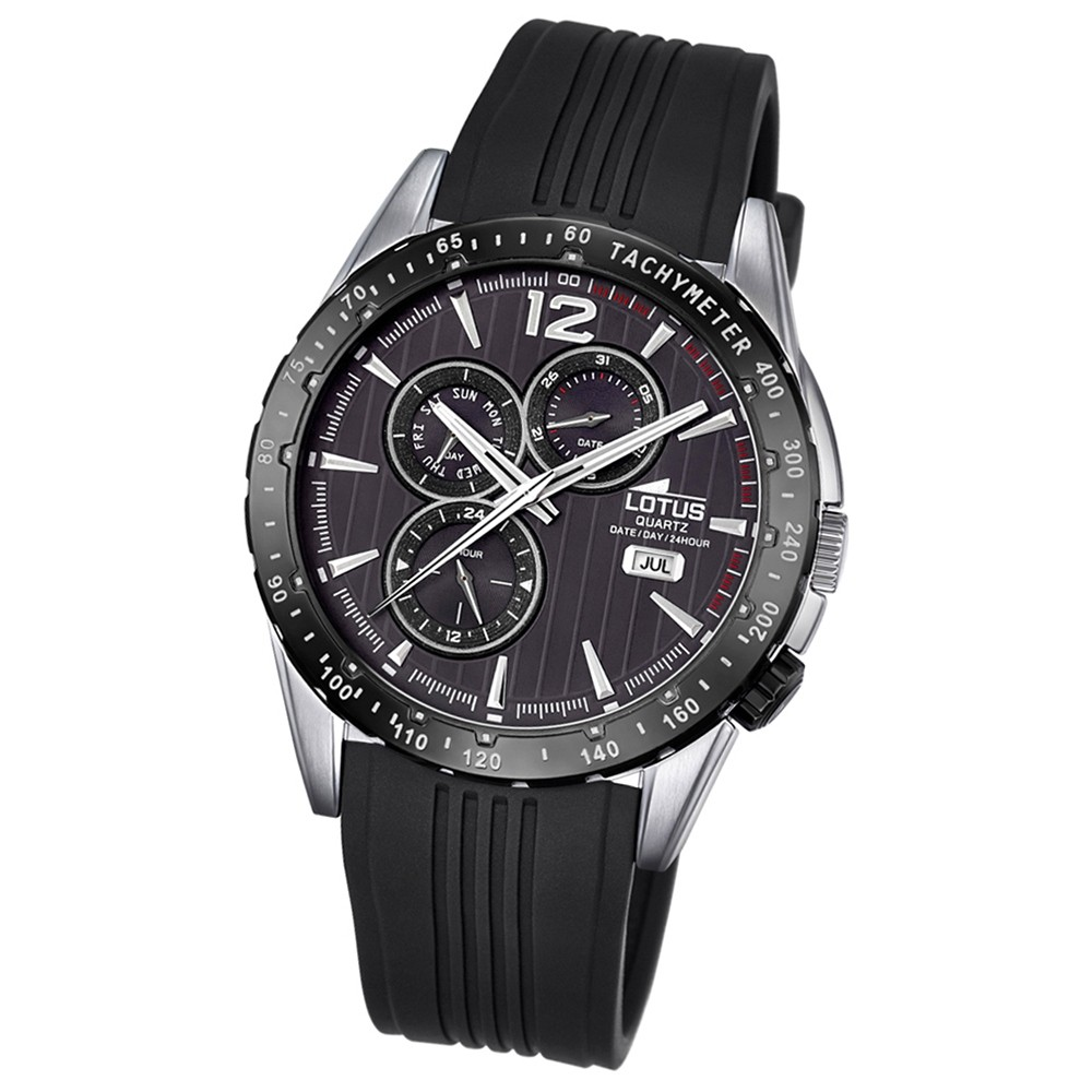 LOTUS Herren-Armbanduhr Sport Analog Quarz-Uhr PU schwarz UL18310/4