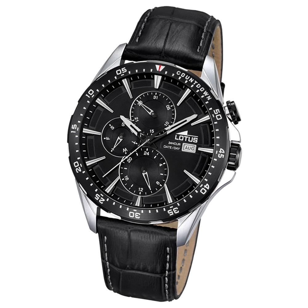 LOTUS Herren-Armbanduhr Analog Quarz Leder schwarz UL18312/4
