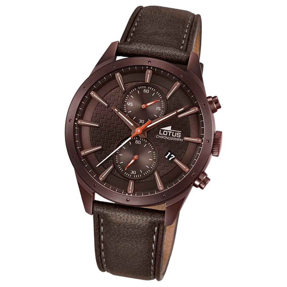 LOTUS Herren-Armbanduhr Khrono Chronograph Quarz-Uhr Leder braun UL18316/1
