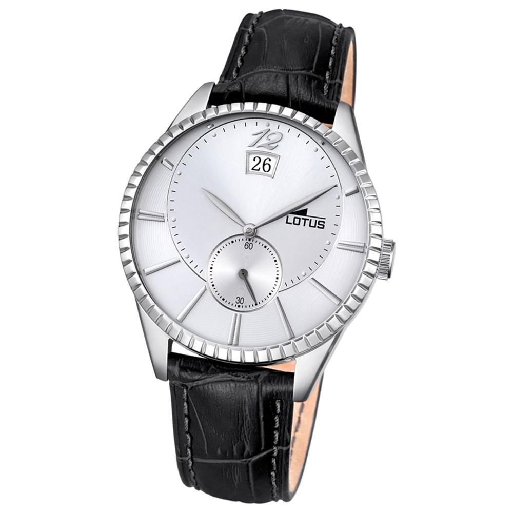 LOTUS Herren-Armbanduhr Elegant Analog Quarz-Uhr Leder schwarz UL18322/1