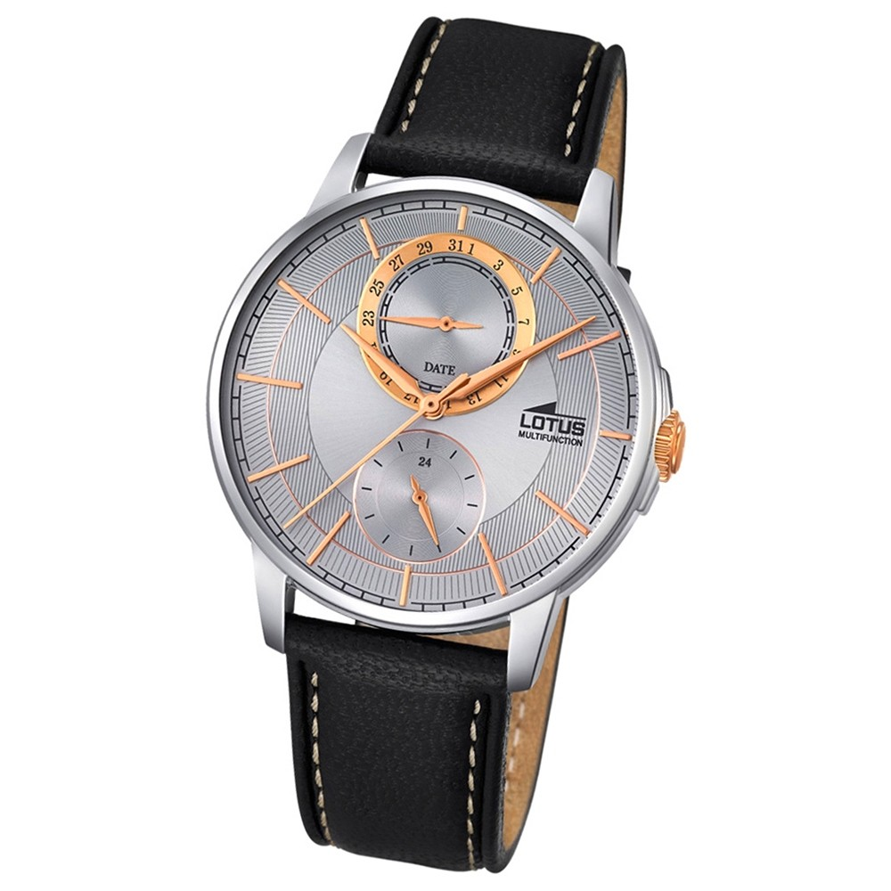 LOTUS Herren-Armbanduhr Multifunktion Analog Quarz-Uhr Leder blau UL18323/1