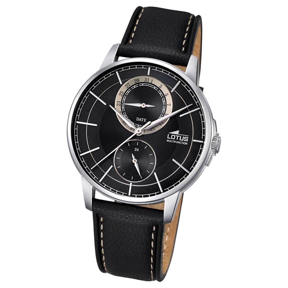 LOTUS Herren-Armbanduhr Analog Quarz Leder schwarz UL18323/3