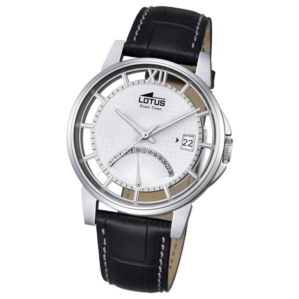 LOTUS Herren Damen-Uhr Minimalist Transparent Quarz Leder schwarz UL18325/1
