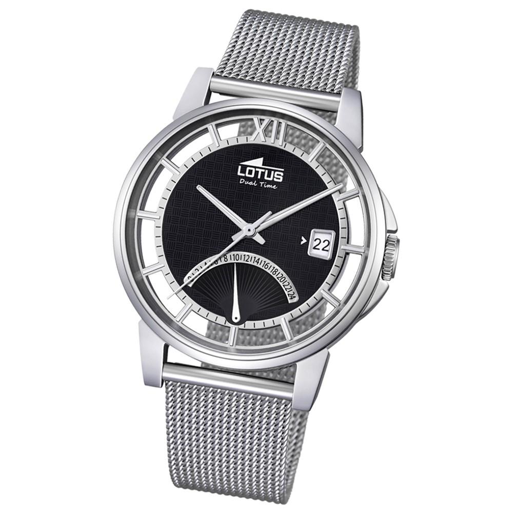 LOTUS Herren Damen-Uhr Minimalist Transparent Quarz Edelstahl silber UL18326/2
