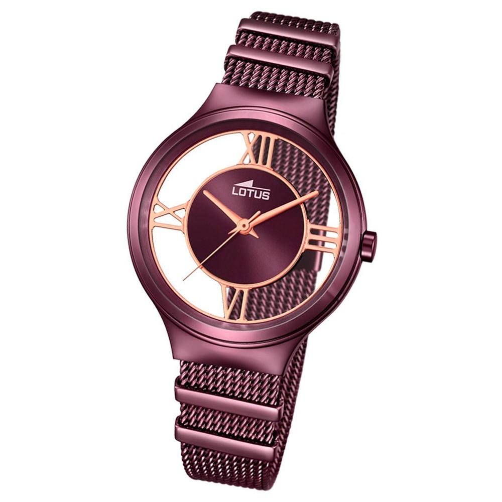LOTUS Damen-Uhr transparent Trendy Analog Quarz Edelstahl aubergine UL18335/1