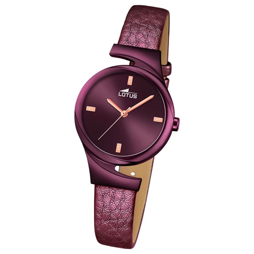 LOTUS Damen-Armbanduhr Elegant Analog Quarz-Uhr Leder aubergine lila UL18346/1