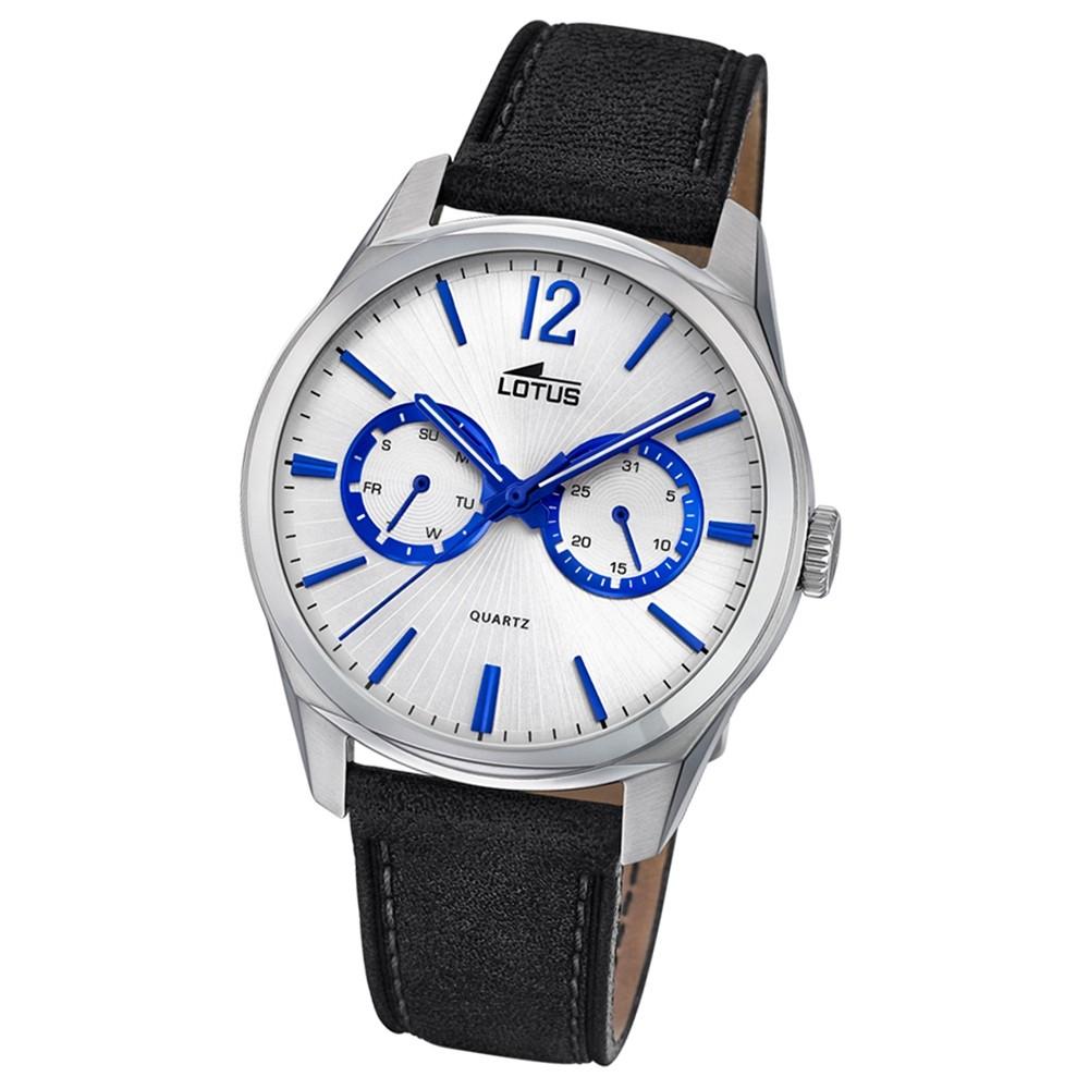 Lotus Herren-Armbanduhr Leder schwarz 18374/2 Quarz Multifunktion UL18374/2