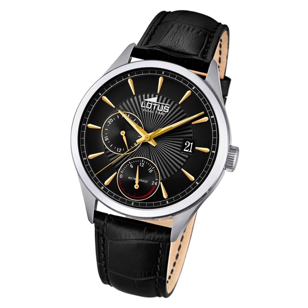 Lotus Herren-Armbanduhr Leder schwarz 18577/6 Quarz Classic UL18577/6