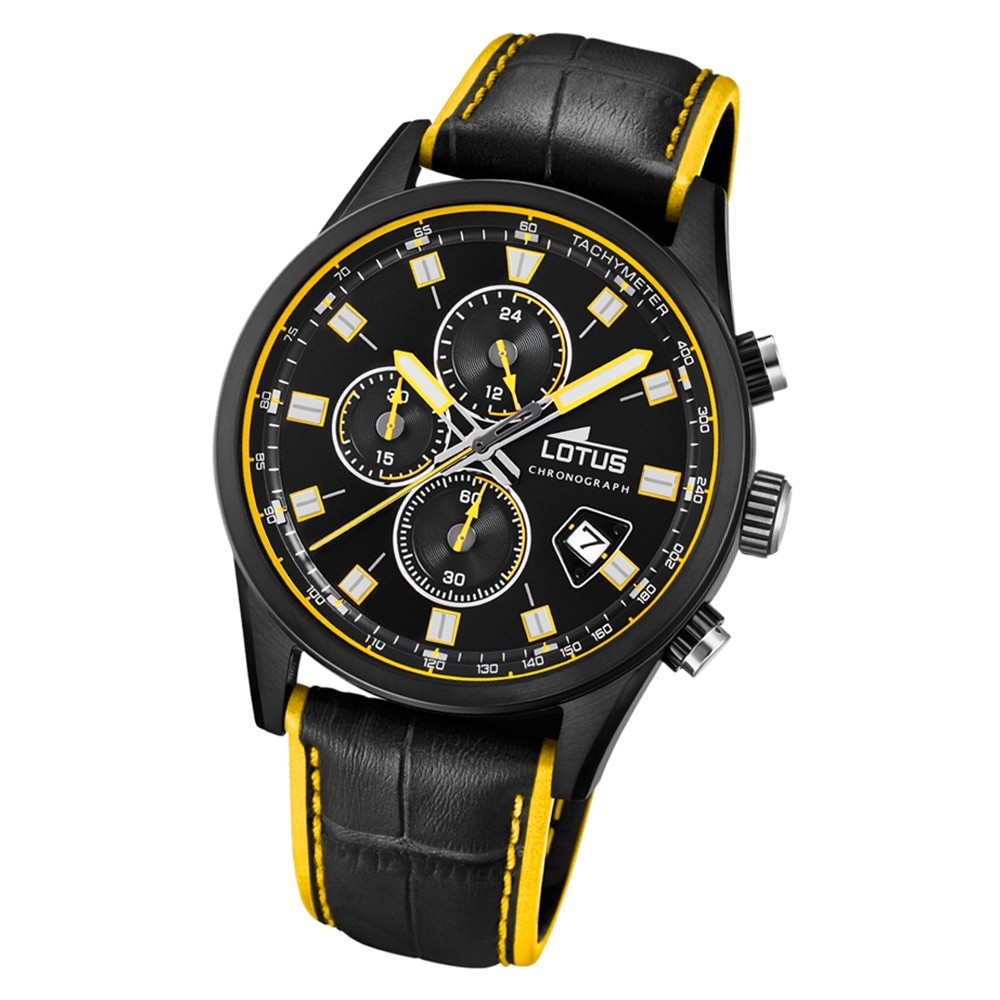 LOTUS Herren Armbanduhr Lotus R 18589/1 Quarz Leder schwarz gelb UL18589/1