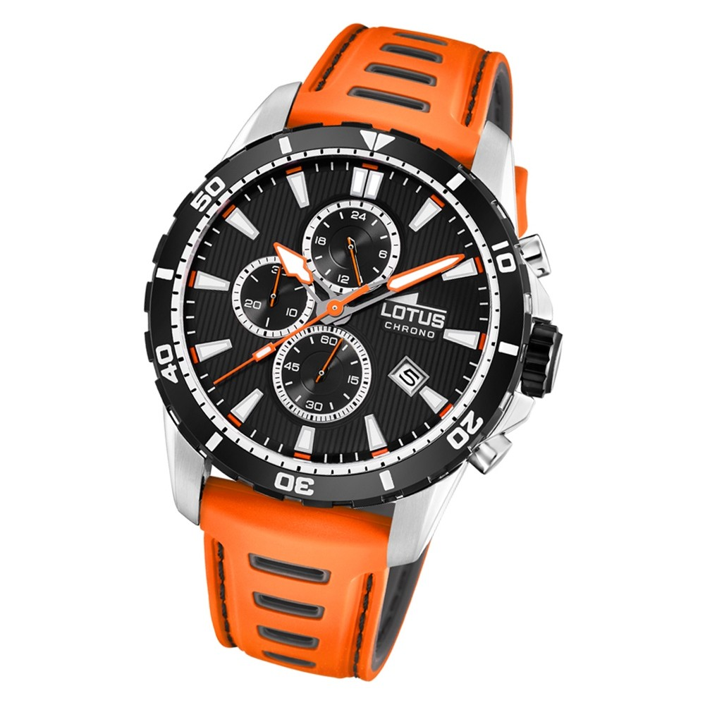 LOTUS Herren Armbanduhr Lotus R 18600/2 Quarz Leder orange schwarz UL18600/2