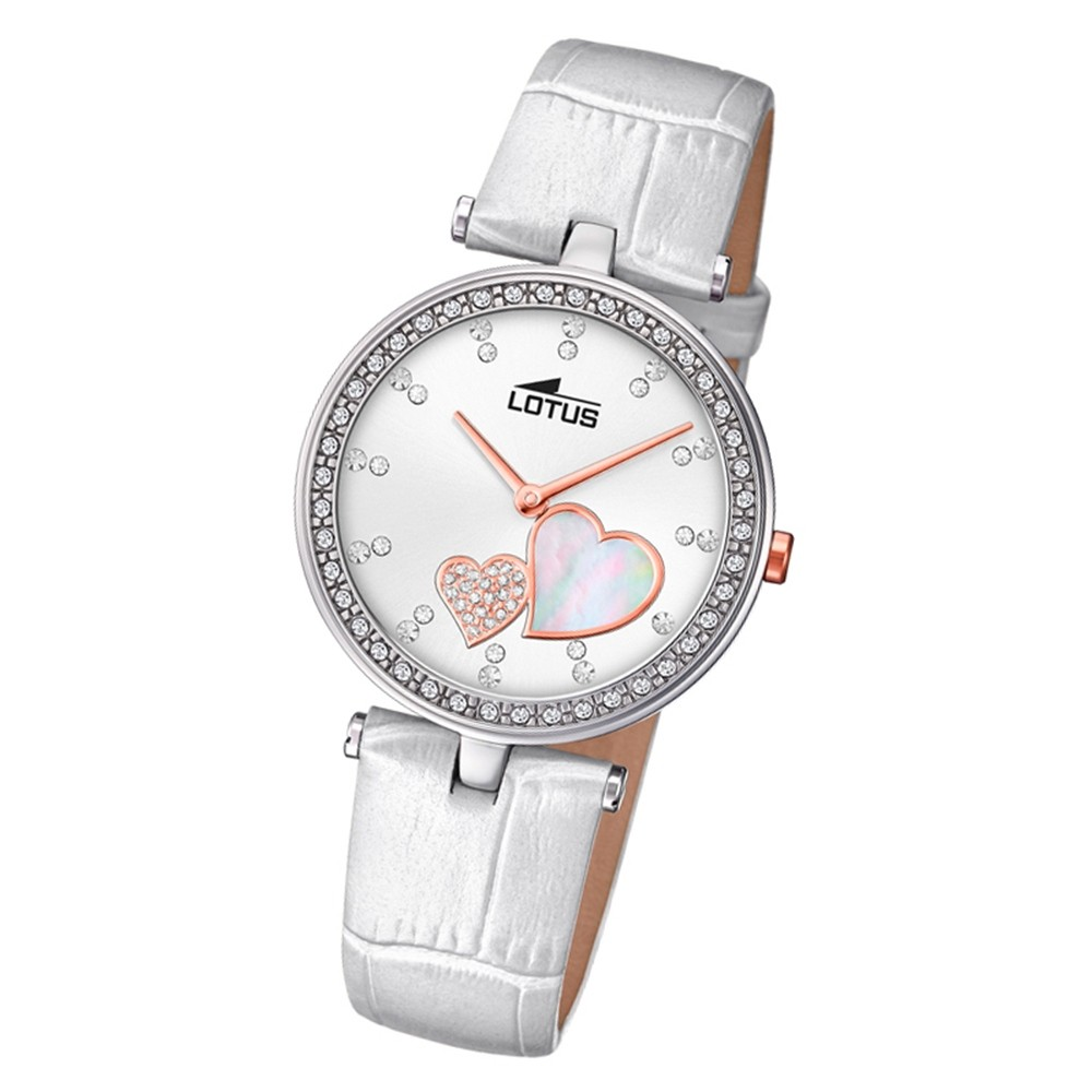 LOTUS Damen Armbanduhr Swarovski Elements 18622/1 Leder weiß UL18622/1
