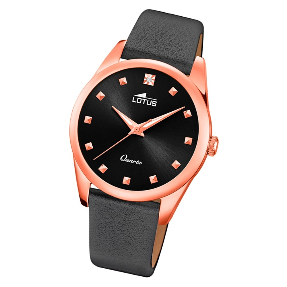 LOTUS Damen Armbanduhr Trendy 18644/1 Quarz Leder schwarz UL18644/1