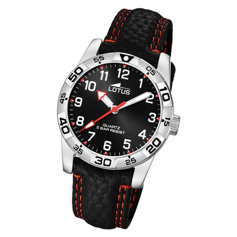 LOTUS Jugend Armbanduhr Junior 18665/3 Quarz Leder schwarz UL18665/3