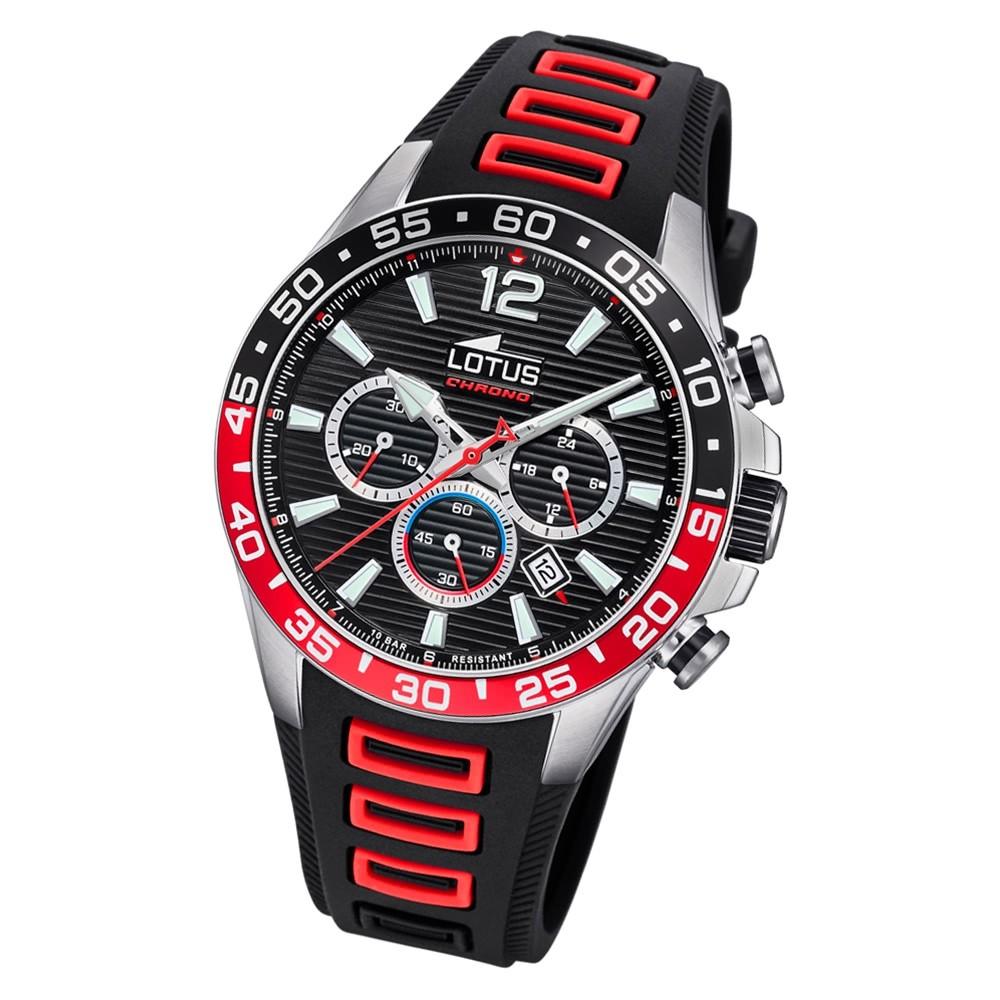 LOTUS Herren Armbanduhr Lotus R 18697/4 Quarz PU schwarz rot UL18697/4