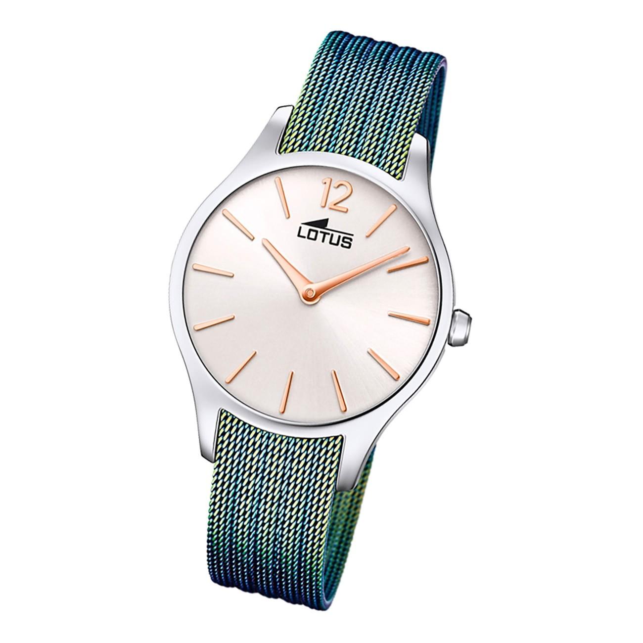 Lotus Damen Armbanduhr Bliss 18749/1 Analog Edelstahl blau grün UL18749/1