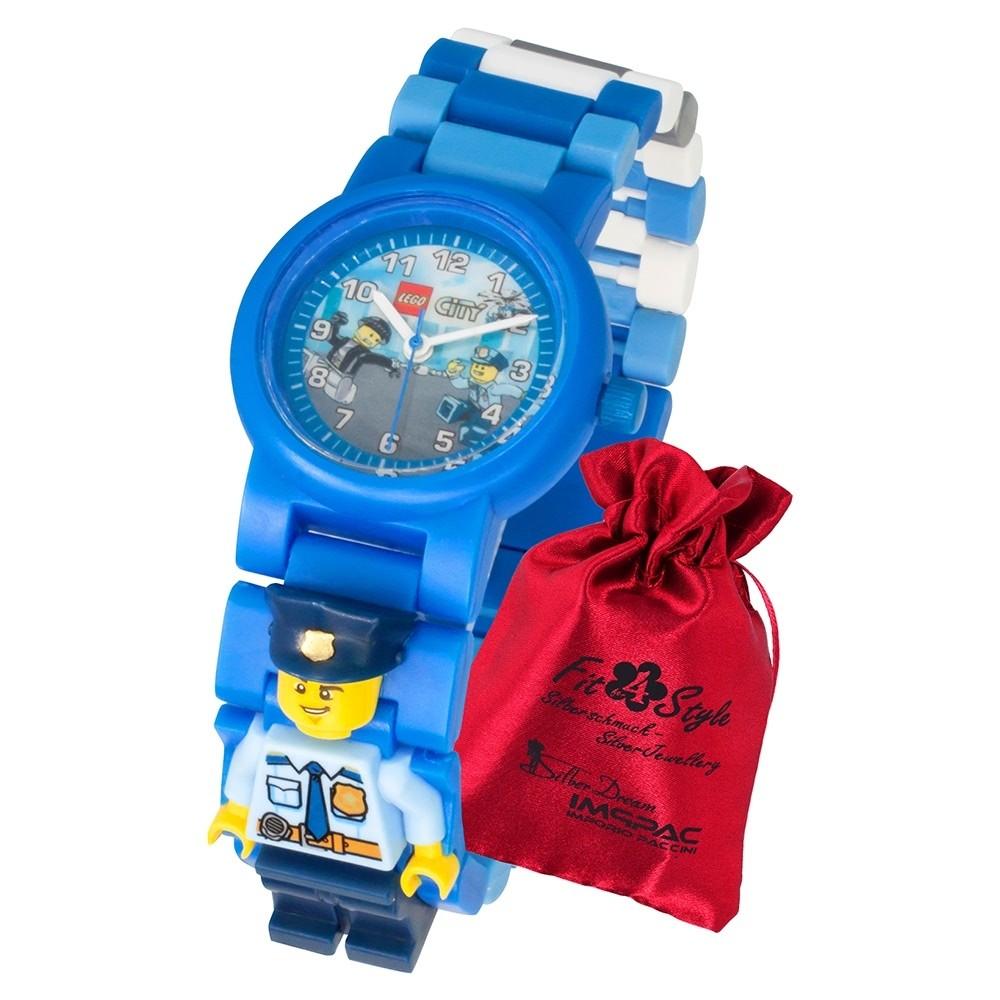 LEGO City Polizist 8021193 Police Officer Kinder-Uhr mit Säckchen ULE8021193