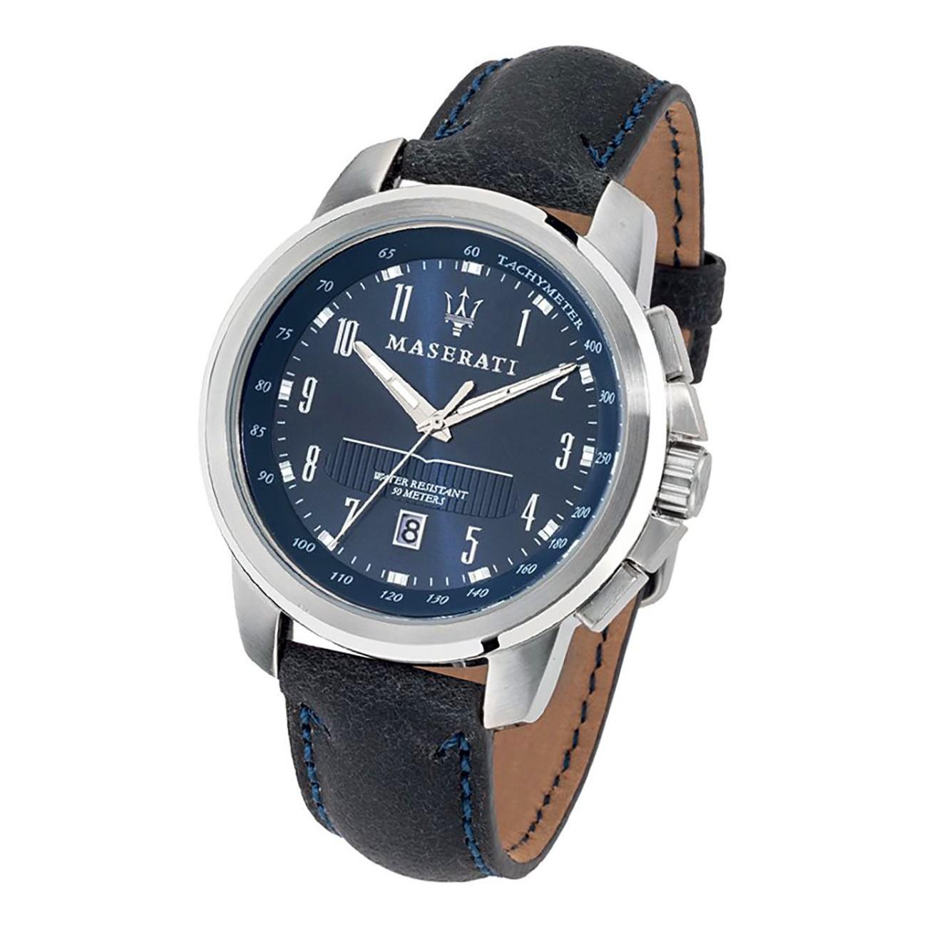 Maserati Herren Armbanduhr Successo Analog Leder blau UMAR8851121003