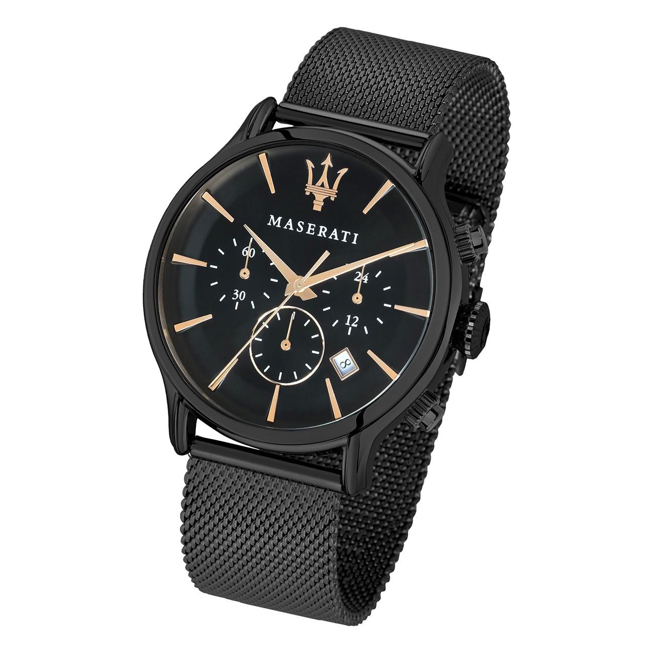 Maserati Herren Armbanduhr Epoca Chrono Edelstahl schwarz UMAR8873618006