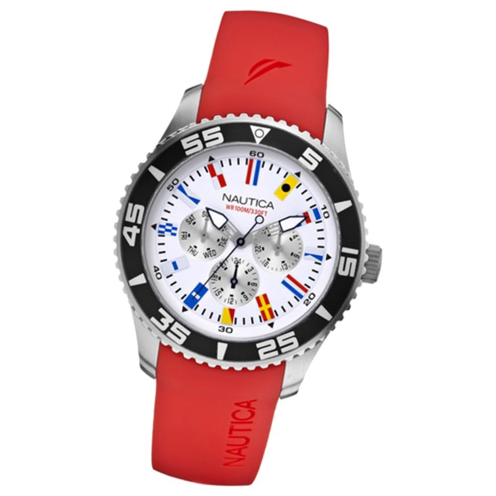 NAUTICA Herren Multifunktionsuhr weiß NST 07 Flags Red UNA12628G
