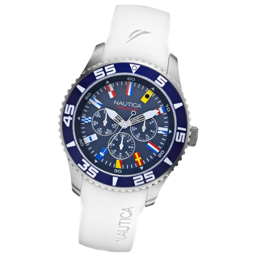 NAUTICA Herren Multifunktionsuhr blau NST 07 Flags White UNA12629G