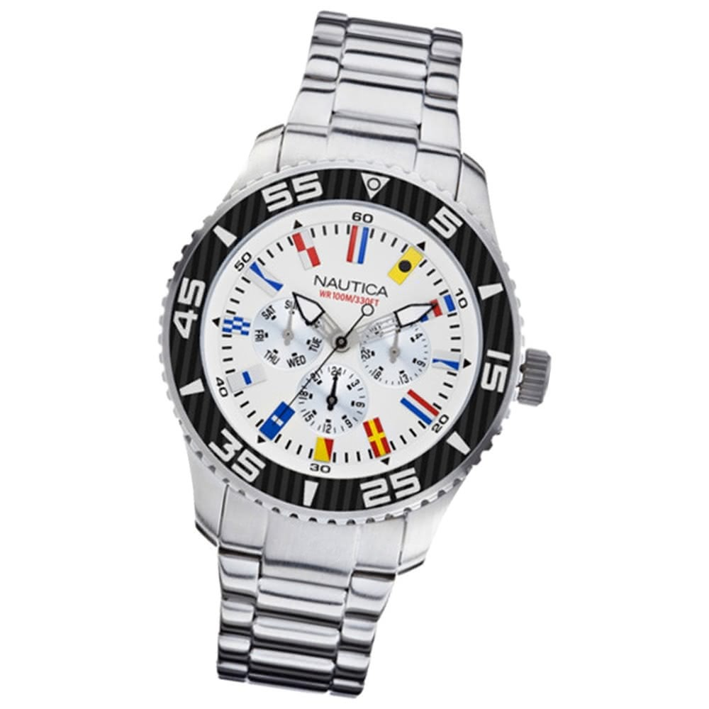 NAUTICA Herren Multifunktionsuhr NST 07 Flags White/Steel UNA14630G
