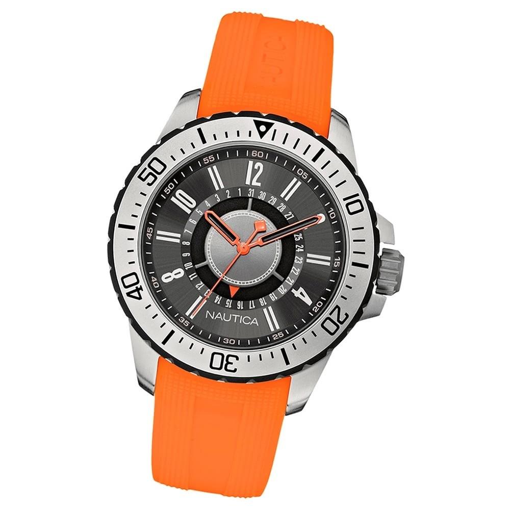 NAUTICA Herren-Armbanduhr Mineralglas Quarz Silikon/Kautschuk orange UNA14662G