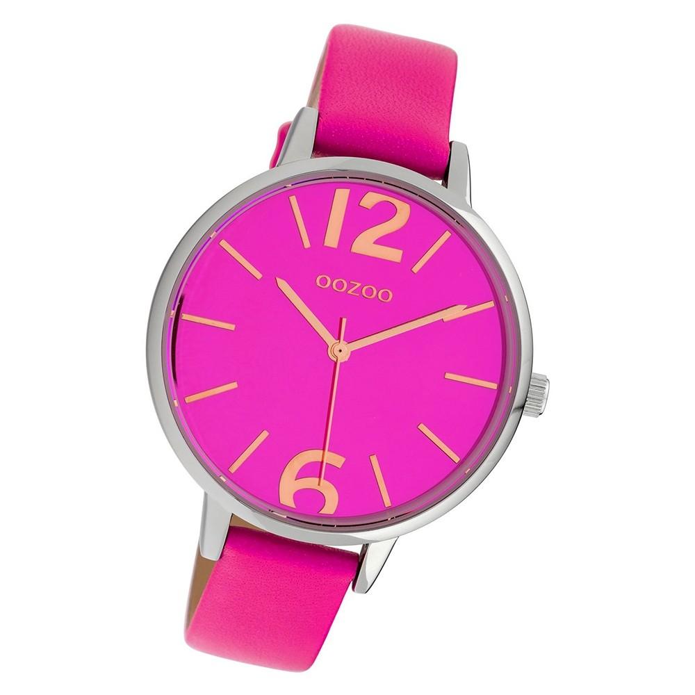 Oozoo Damen Armbanduhr Timepieces C10154 41mm Quarz Leder fuchsia UOC10154