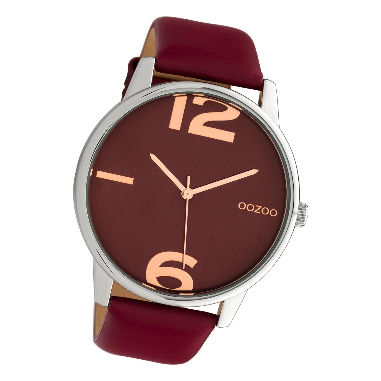Oozoo Damen Armbanduhr Timepieces C10373 Analog Leder weinrot UOC10373