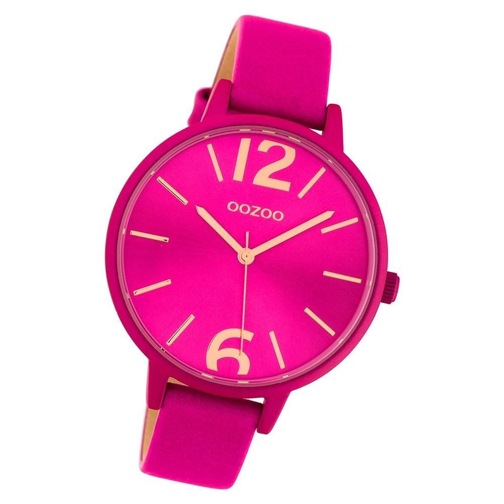 Oozoo Damen Armbanduhr Timepieces C10443 42mm Quarz Leder fuchsia UOC10443