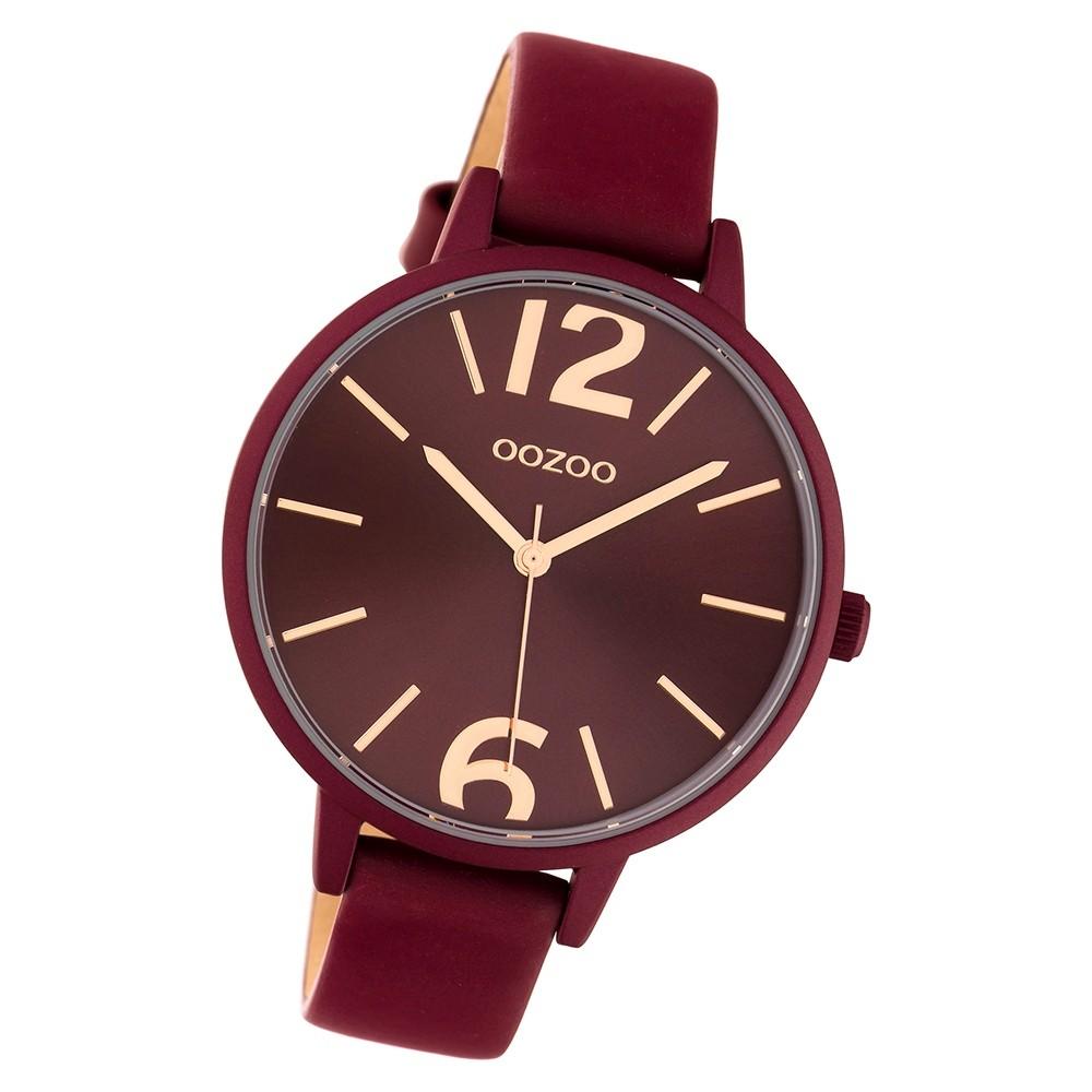 Oozoo Damen Armbanduhr Timepieces C10444 42mm Quarz Leder weinrot UOC10444