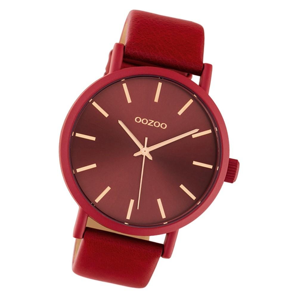 Oozoo Damen Armbanduhr Timepieces C10445 42mm Quarz Leder rot UOC10445