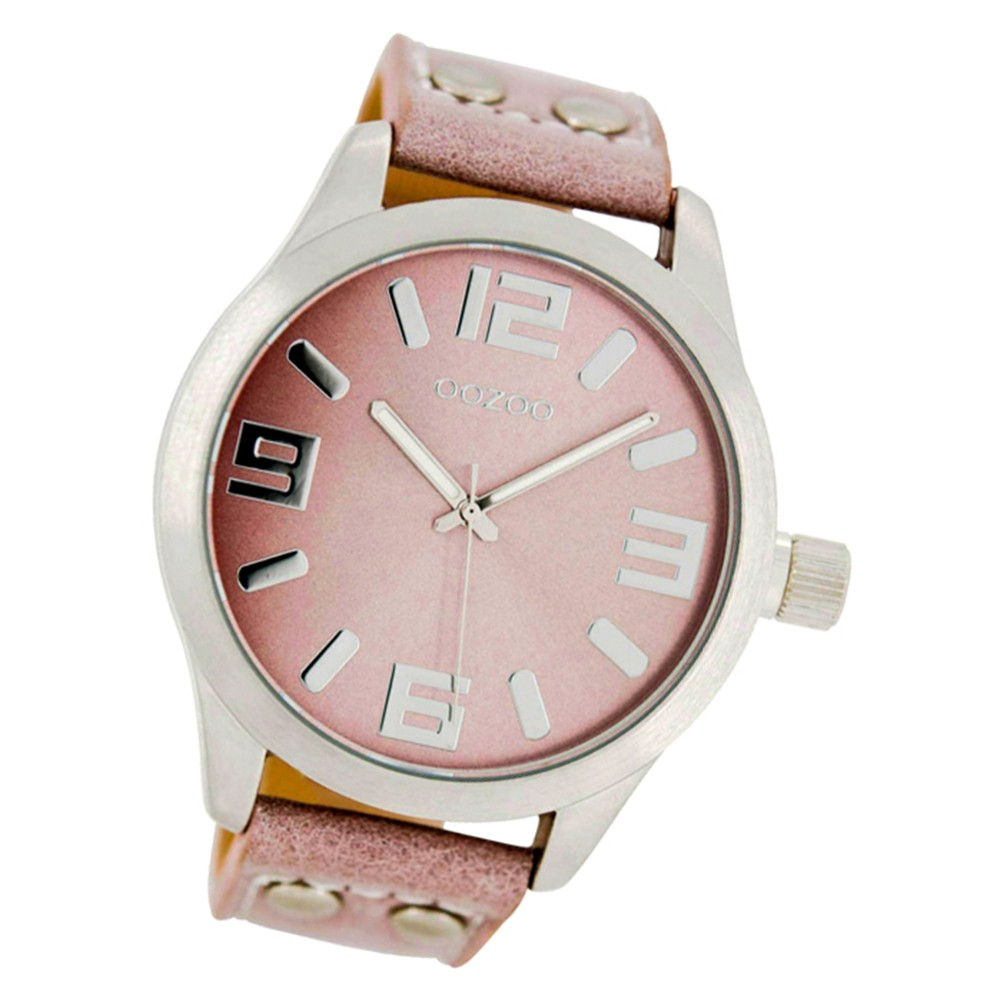 Oozoo Damen-Uhr Timepieces Quarzuhr C1058 Leder-Armband rosa UOC1058A