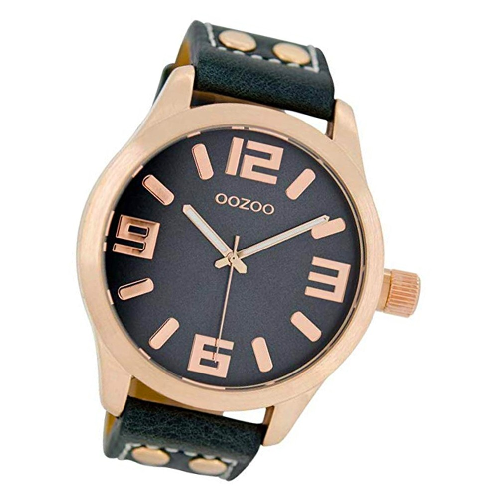 Oozoo Damen Armbanduhr Timepieces C1157 46mm Quarz Leder blau UOC1157