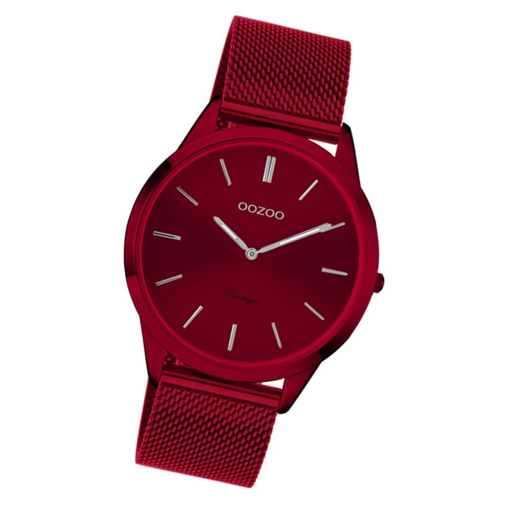 Oozoo Damen Armbanduhr Ultra Slim C20006 Quarz Edelstahl weinrot UOC20006