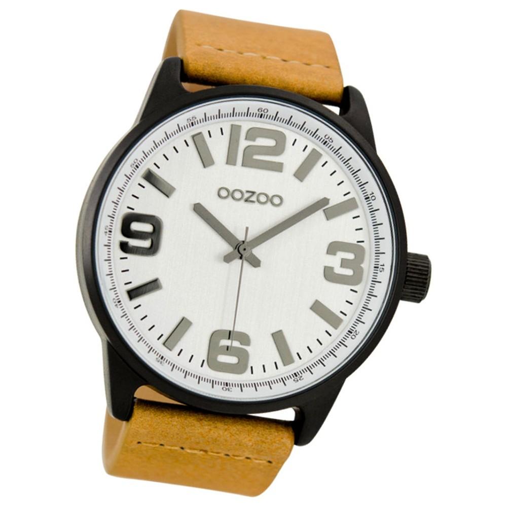 Oozoo Damen Herren-Armbanduhr Mineralglas Quarz Leder beige braun UOC7090