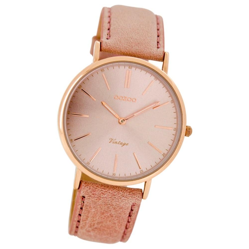 Oozoo Damen-Armbanduhr Ultra Slim Mineralglas Quarz Leder rosa UOC7372