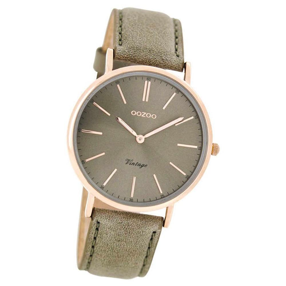 Oozoo Damen-Uhr Ultra Slim rosegold Quarzuhr Leder-Armband grau braun UOC7374