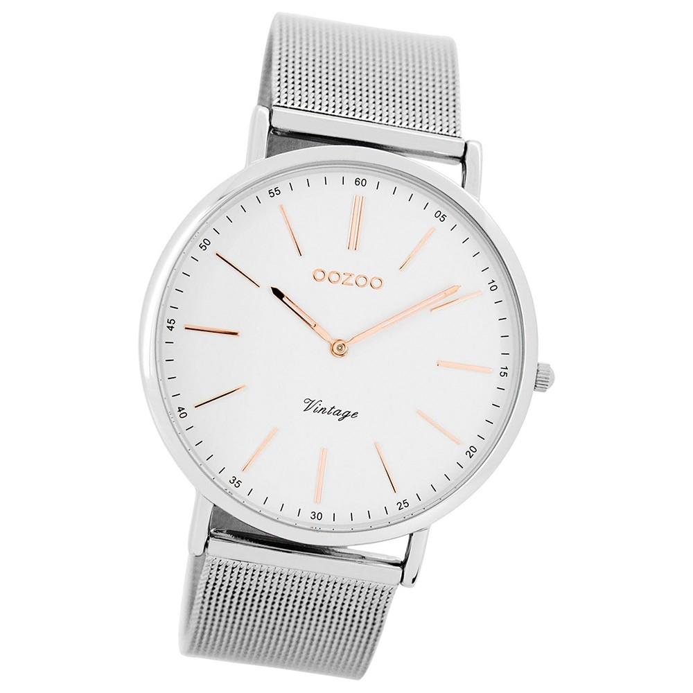 Oozoo Damen Herren-Uhr Ultra Slim Quarzuhr Metall-Armband silber UOC7387