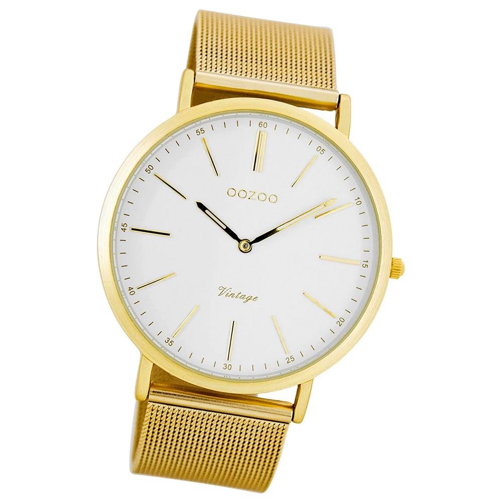 Oozoo Damen Herren-Uhr Ultra Slim Quarzuhr Metall-Armband gold UOC7389