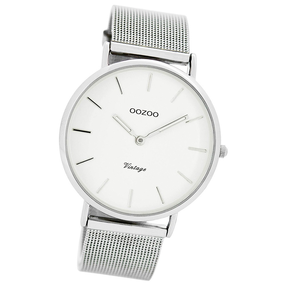 Oozoo Damen Herren-Uhr Ultra Slim Quarzuhr Metall-Armband silber UOC7724