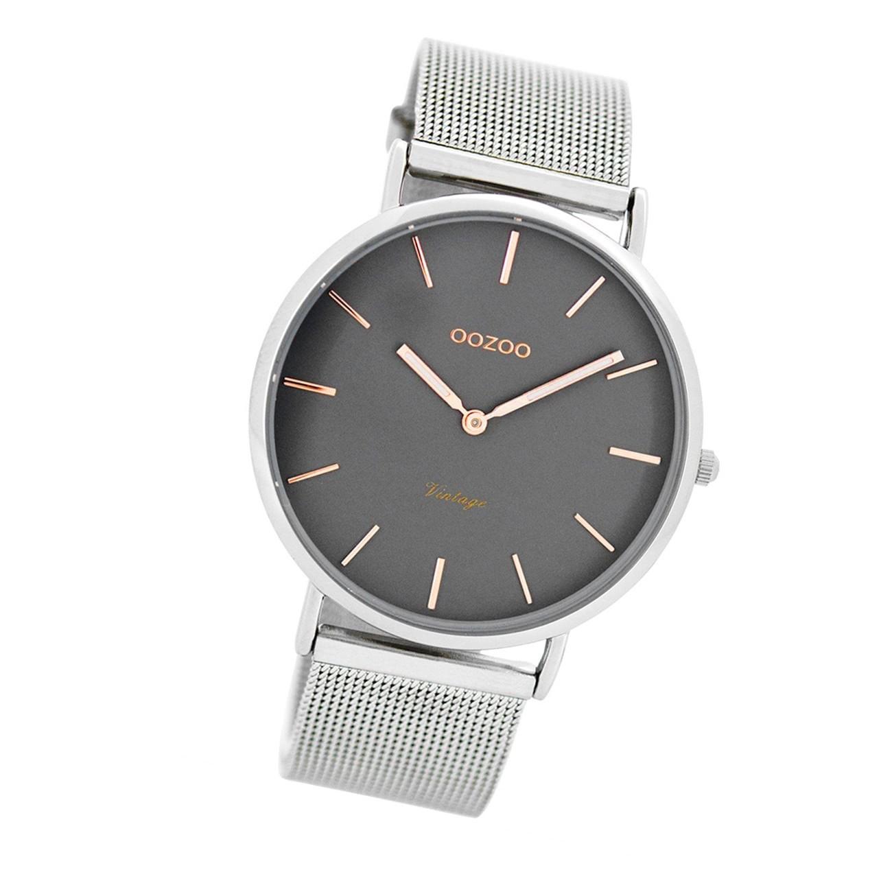 Oozoo Damen Herren-Uhr Ultra Slim Quarzuhr Metall-Armband silber UOC7725