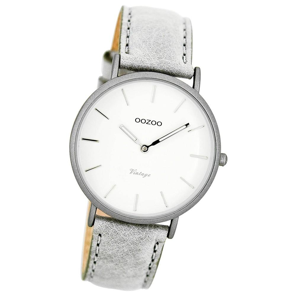 Oozoo Damen-Uhr Ultra Slim Quarzuhr Leder-Armband grau UOC7745